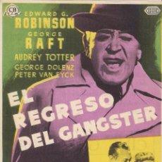 Cine: FOLLETO DE MANO - EL REGRESO DEL GANSTER. CINE GRAN VÍA. ZARAGOZA. Lote 41474522