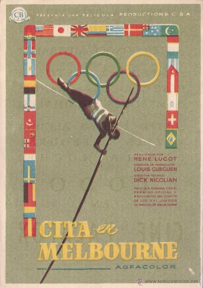 FOLLETO DE MANO - CITA EN MELBOURNE. CINE PALAFOX ZARAGOZA 1957 (Cine - Folletos de Mano - Deportes)