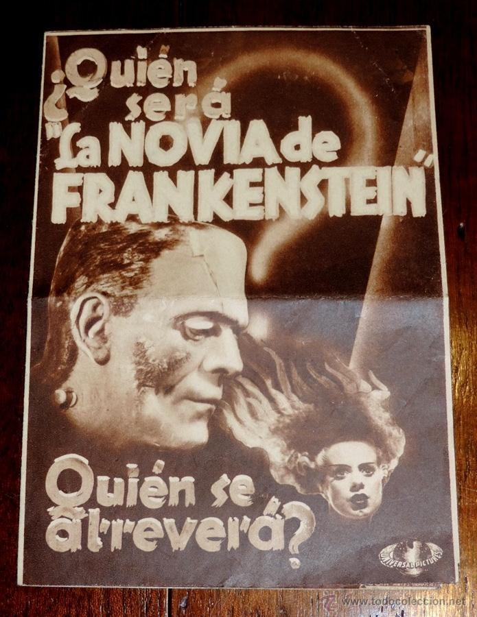 LA NOVIA DE FRANKENSTEIN, PROGRAMA DE CINE DOBLE, ESTRENO 17 DE MAYO DE 1936, CON PUBLICIDAD DEL SAL (Cine - Folletos de Mano - Terror)
