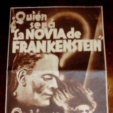 Cine: LA NOVIA DE FRANKENSTEIN, PROGRAMA DE CINE DOBLE, ESTRENO 17 DE MAYO DE 1936, CON PUBLICIDAD DEL SAL. Lote 41520428