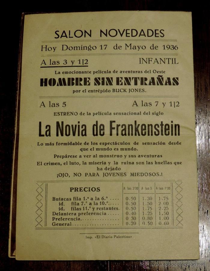 Cine: LA NOVIA DE FRANKENSTEIN, PROGRAMA DE CINE DOBLE, ESTRENO 17 DE MAYO DE 1936, CON PUBLICIDAD DEL SAL - Foto 2 - 41520428