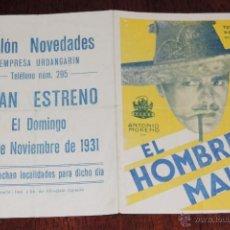 Cine: EL HOMBRE MALO, PROGRAMA DOBLE RARO COLOR AMARILLO - CON PUBLICIDAD DE SALON NOVEDADES, PALENCIA - E. Lote 41564721