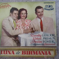 Cine: LUNA DE BIRMANIA - PROGRAMA DOBLE - IDEAL CINEMA - BENICARLO - 1945. Lote 41609900