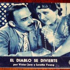 Cine: EL DIABLO SE DIVIERTE, POR VICTOR JORY Y LORETTA YOUNG, PROGRAMA SENCILLO DE CARTULINA, CON PUBLICID. Lote 154057537