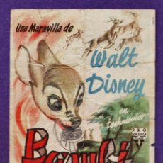Cine: FOLLETO MANO - BAMBI - WALT DISNEY - CINE FEMINA - TARRAGONA / TGN - AÑO 1952 - R/ PÑ. Lote 41677953