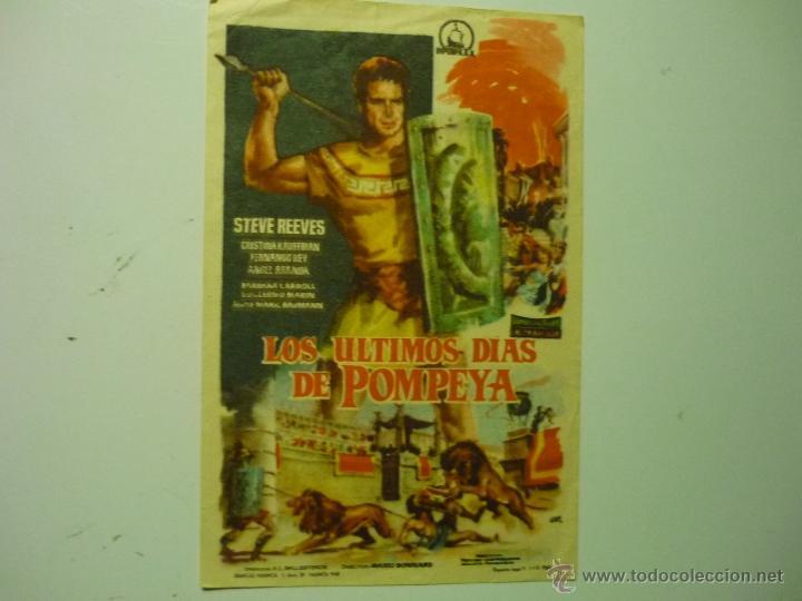 PROGRAMA LOS ULTIMOS DIAS DE POMPEYA.- STEVE REEVES-PUBLICIDAD (Cine - Folletos de Mano - Aventura)