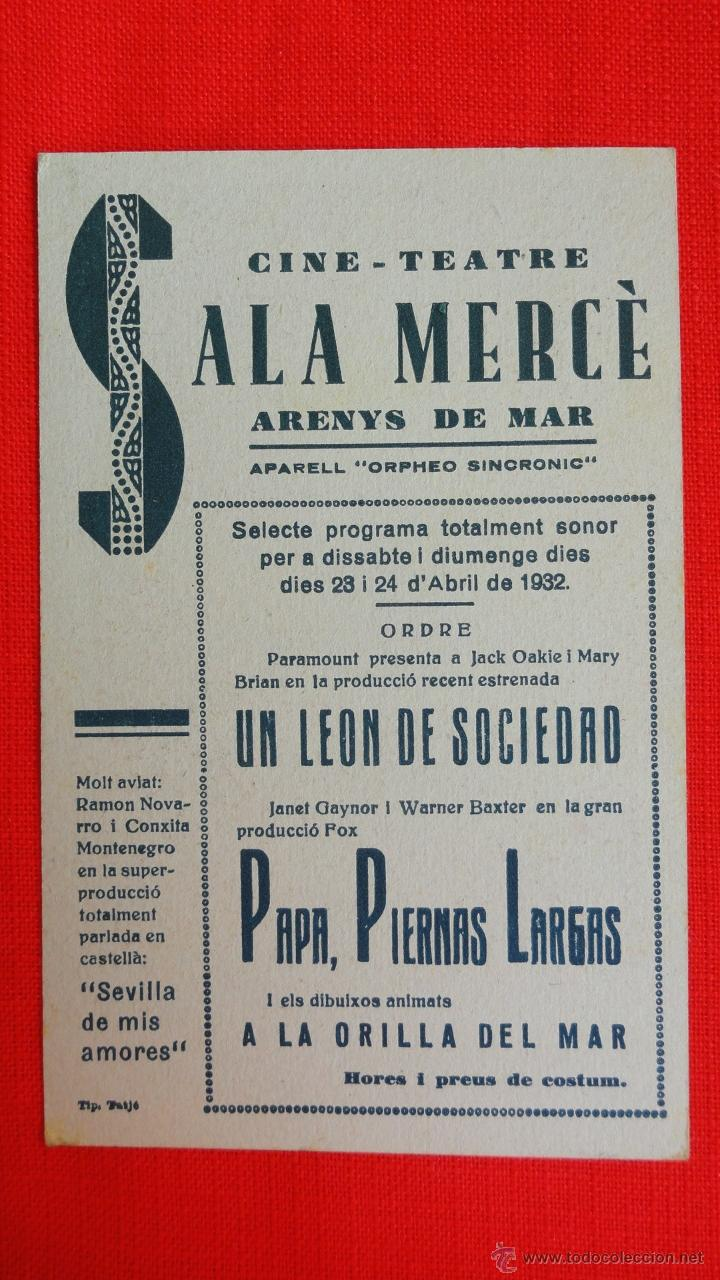 Cine: PAPA PIERNAS LARGAS, TARJETA FOX 1932, JANET GAYNOR, CON PUBLICIDAD SALA MERCÈ - Foto 2 - 41730297