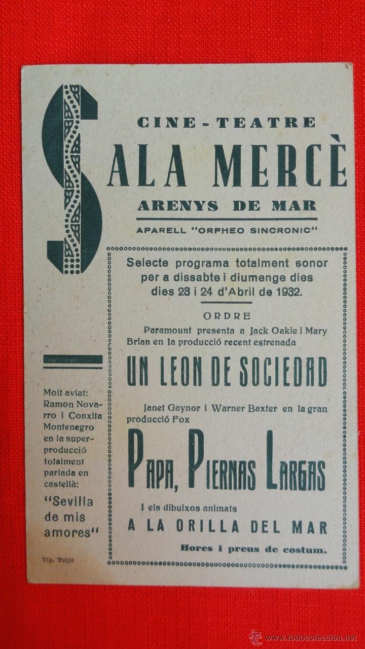 Cine: PAPA PIERNAS LARGAS, TARJETA FOX 1932, JANET GAYNOR, CON PUBLICIDAD SALA MERCÈ - Foto 2 - 41730367