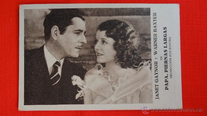 PAPA PIERNAS LARGAS, TARJETA FOX 1932, EXCTE. ESTADO, JANET GAYNOR, CON PUBLICIDAD SALA MERCÈ (Cine - Folletos de Mano - Musicales)