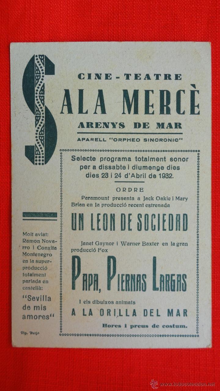 Cine: PAPA PIERNAS LARGAS, TARJETA FOX 1932, EXCTE. ESTADO, JANET GAYNOR, CON PUBLICIDAD SALA MERCÈ - Foto 2 - 41730411