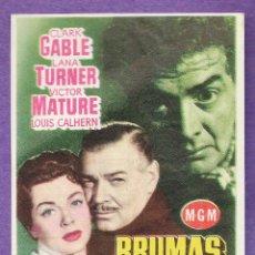 Cine: FOLLETO MANO - BRUMAS DE TRAICION - C. GABLE / L.TURNER - CINE MODERNO - TARRAGONA / TGN - AÑO 1955. Lote 297088893