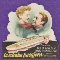 Cine: FOLLETO MANO - LA EXTRAÑA PASAJERA - BETTE DAVIS - SALON CENTRO CORAL (?) - AÑO 1948 - PÑ. Lote 41738183