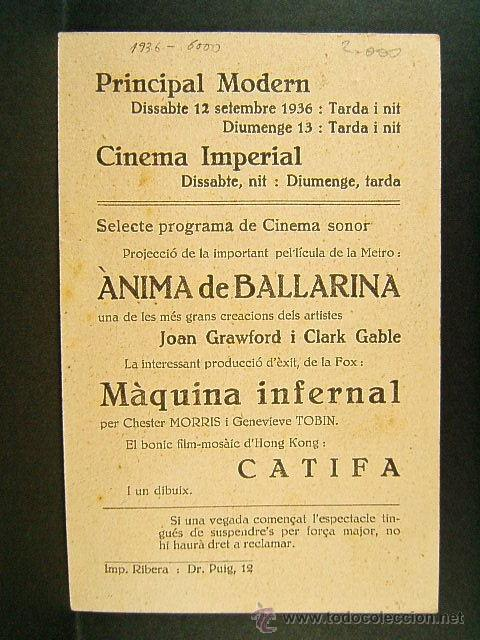 Cine: ANIMA DE BALLARINA-R.Z.LEONARD-JOAN CRAWFORD-CLARCK GABLE-CINE PRINCIPAL MODERN-EN CATALAN-1936 - Foto 2 - 41873473
