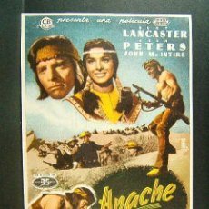 Cine: APACHE-ROBERT ALDRICH-BURT LANCASTER-JEAN PETERS-ILUSTRADO POR ALC-CINE OLIMPIA Y MUNDIAL-1955. Lote 41873946