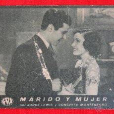 Cine: MARIDO Y MUJER, JORGE LEWIS, CONCHITA MONTENEGRO, TARJETA FOX 1932 CON PUBLI SALA REUS. Lote 41979769