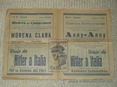 PROGRAMA 1939 VIAJE DE HITLER A ITALIA, MORENA CLARA, CINE BERGADÁ, BERGA, PATUM (Cine - Folletos de Mano - Documentales)