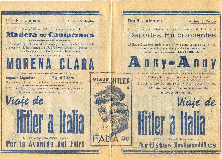 Cine: Programa 1939 Viaje de Hitler a Italia, Morena Clara, Cine Bergadá, Berga, Patum - Foto 3 - 41988490
