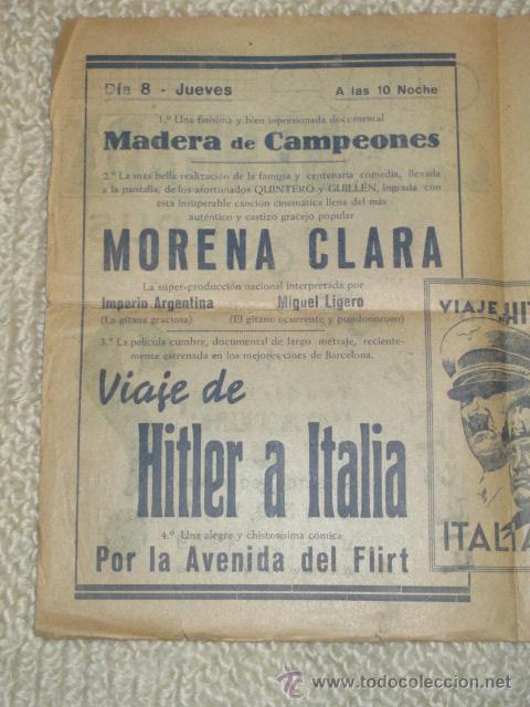 Cine: Programa 1939 Viaje de Hitler a Italia, Morena Clara, Cine Bergadá, Berga, Patum - Foto 6 - 41988490
