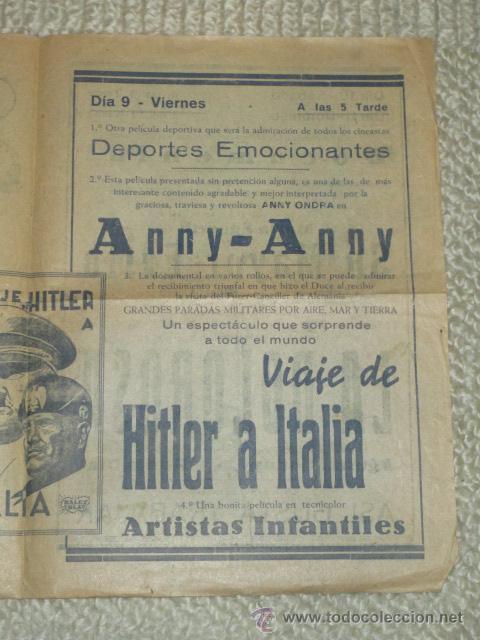 Cine: Programa 1939 Viaje de Hitler a Italia, Morena Clara, Cine Bergadá, Berga, Patum - Foto 7 - 41988490