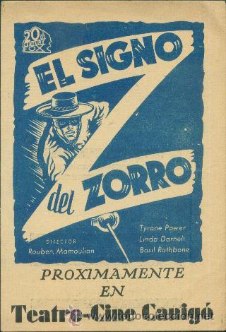 EL SIGNO DEL ZORRO (Cine - Folletos de Mano - Westerns)