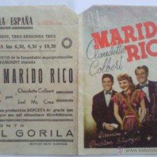 Cine: PROGRAMA DE CINE DOBLE, UN MARIDO RICO, AÑOS 40. Lote 42249191