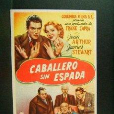 Cine: CABALLERO SIN ESPADA-FRANK CAPRA-JEAN ARTHUR-JAMES STEWART-MARTI Y MARI-COLUMBIA FILMS-CINE-(1939). Lote 42261907