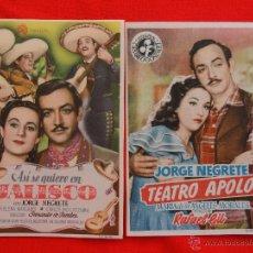 Cine: JORGE NEGRETE 2 PROGRAMAS IMPECABLES, TEATRO APOLO, ASÍ SE QUIERE EN JALISCO, 1 CON PUBLICIDAD. Lote 42422922
