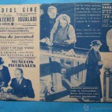 Cine: MUÑECOS INFERNALES , ATENEU IGUALADI ,CONTROLAT PER LA CNT- AIT 1937, MUNDIAL CINEMA IGUALADA. Lote 42471529