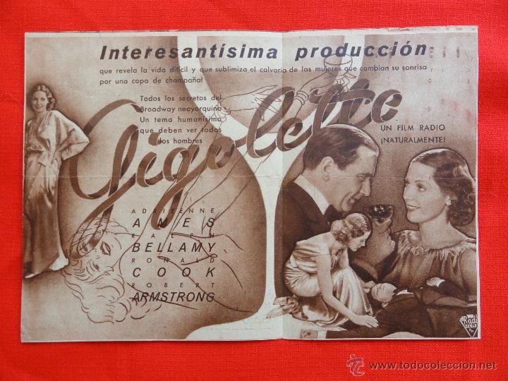 Cine: GIGOLETTE, DOBLE 1936 EXCLNTE ESTADO, ADRIEENNE AMES RALPH BELLAMY, CON PUBLICIDAD EUTERPE - Foto 2 - 42480503