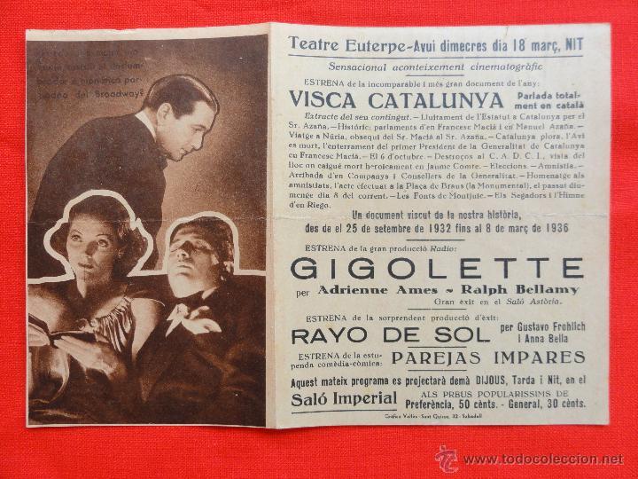 Cine: GIGOLETTE, DOBLE 1936 EXCLNTE ESTADO, ADRIEENNE AMES RALPH BELLAMY, CON PUBLICIDAD EUTERPE - Foto 3 - 42480503