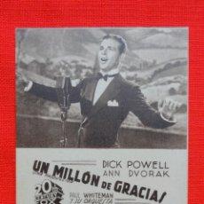 Cine: UN MILLON DE GRACIAS, TARJETA ORIGINAL FOX, AÑOS 30, EXCTE. ESTADO, DICK POWELL ANN DOVAK, SIN PUBLI. Lote 42527040