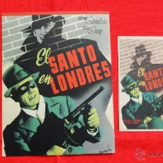 Cine: EL SANTO EN LONDRES, SENCILLO Y FICHA TÉCNICA FILMÓFONO, EXCTE. ESTADO, GEORGE SANDERS, CON PUBLI. Lote 42574806