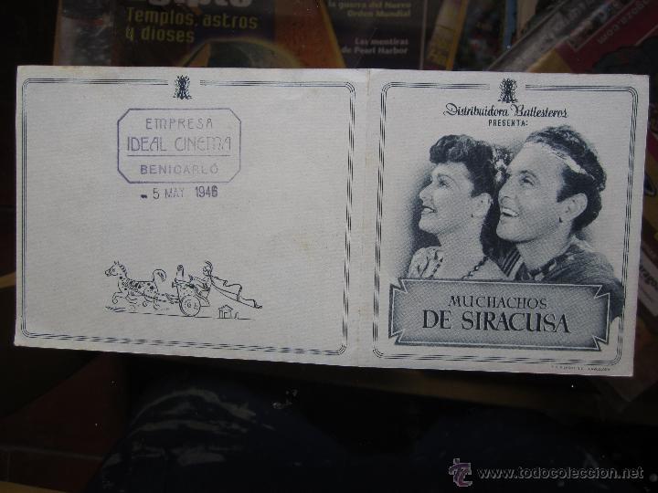 Cine: muchachos de siracusa - ideal cinema benicarlo 1946 - Foto 2 - 42588517