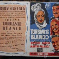 Cine: TURBANTE BLANCO - IQUINO - RUIZ CINEMA . BENICARLO 1945. Lote 42588925