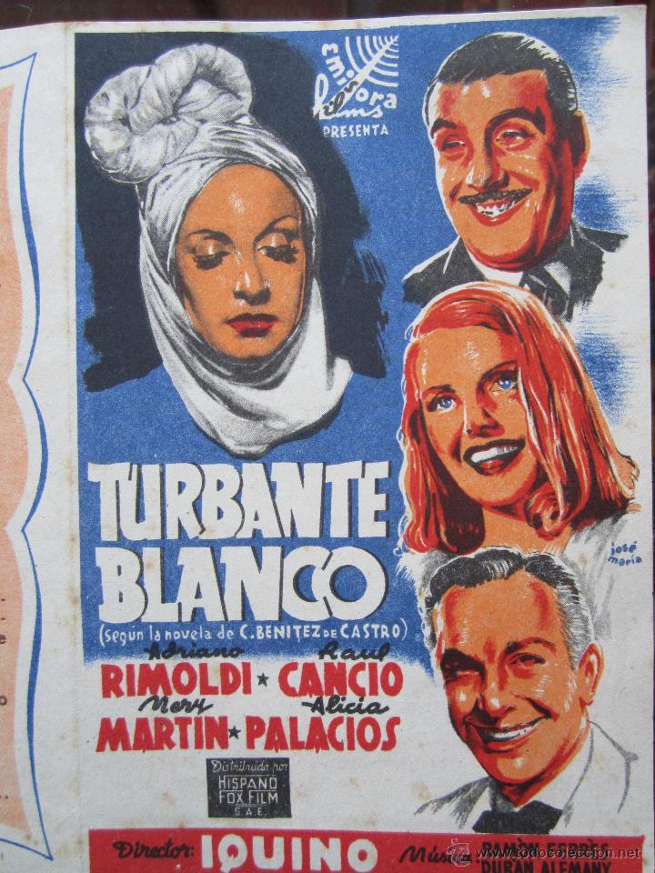 Cine: turbante blanco - iquino - ruiz cinema . benicarlo 1945 - Foto 2 - 42588925