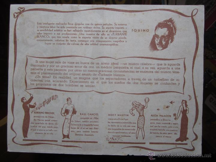 Cine: turbante blanco - iquino - ruiz cinema . benicarlo 1945 - Foto 4 - 42588925