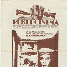 Cine: EL CAMERAMAN. PROGRAMA DOBLE LOCAL DE MAHIER. PUBLI- CINEMA 1969.. Lote 42612449