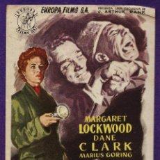 Cine: FOLLETO MANO - ARMAS SECRETAS - M. LOCKWOOD / D. CLARK - EUROPA FILMS - SIN PUBLICIDAD - AÑOS 50. Lote 228131147
