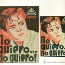 Cine: NO QUIERO...NO QUIERO - PROGRAMA ORIGINAL DOBLE CIFESA - 2X1. Lote 42637023