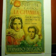 Cine: PROGRAMA GRANDE LA GITANILLA.-ESTRELLITA CASTRO -PUBLICIDAD CINE GADES. Lote 42647548