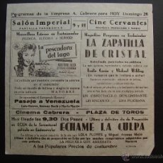 Folhetos de mão de filmes antigos de cinema: FOLLETO LOCAL LA PESCADORA DEL LAGO. Lote 42697974