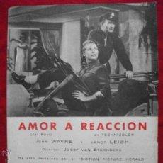Cine: CARTEL O PROGRAMA GRANDE DE CINE AMOR A REACCION . Lote 42738150