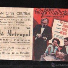 Cine: PROGRAMA DE CINE DOBLE. C/P. CAFE METROPOL. GRAN CINE CENTRAL. EMPRESA L.M.S. IMP. CARREÑO. Lote 42750982