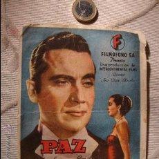 Cine: ANTIGUO FOLLETO DOBLE PELICULA PAZ.- PROYECTADA EN ELCHE, AÑOS 40. Lote 31174080