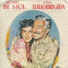 Cine: PROGRAMA, FOLLETO MANO, PAN AMOR Y FANTASIA - LOLLOBRIGIDA, VITTORIO DE SICA - TARRAGONA 1955. Lote 42847394