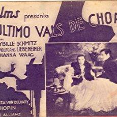 Cine: PROGRAMA DE CINE DOBLE - EL ÚLTIMO VALS DE CHOPIN - 1934 - C/P. Lote 42910403