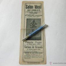 Cine: FOLLETO CARTEL DEL SALON IDEAL - EL BAILE DEL LABRADOR - PAQUITA PAGAN - 1923 IMPRENTA RIOSECO. Lote 147540248