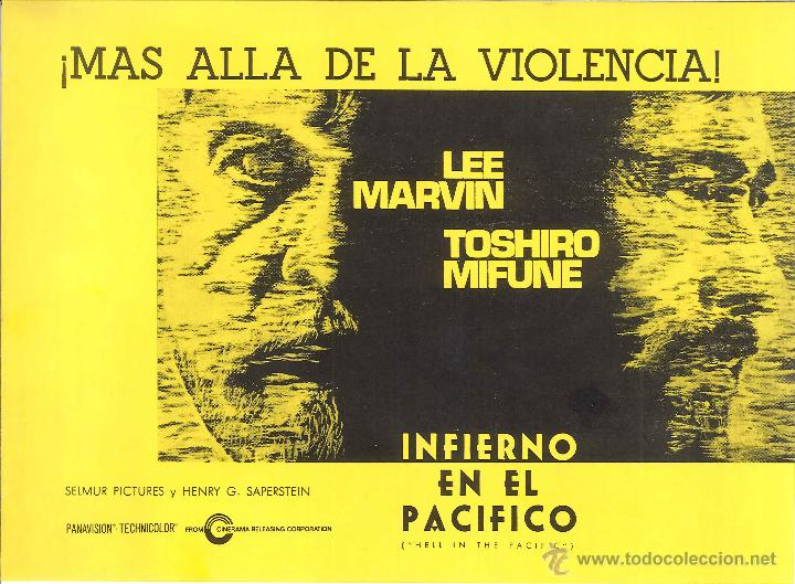 PROGRAMA INFIERNO EN EL PACÍFICO DE JOHN BOORMAN CON LEE MARVIN Y TOSHIRO MIFUNE (Cine - Folletos de Mano - Bélicas)