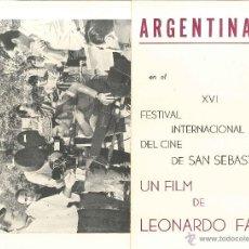 Cine: PROGRAMA EL DEPENDIENTE DE LEONARDO FAVIO ARGENTINA PRESENTA AL XVI FESTIVAL DE SAN SEBASTIÁN. Lote 43047878