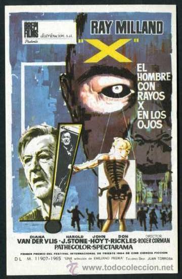 EL HOMBRE CON RAYOS X EN LOS OJOS - AÑO 1963 - FOLLETO DE MANO ORIGINAL Nº1 (Cine - Folletos de Mano - Terror)